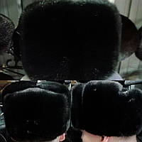 Мужская норковая шапка чёрная (обманка), фото 1