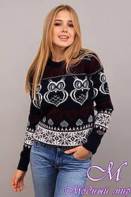 Теплый женский свитер с узорами (ун. 44-48) арт. К-13-193