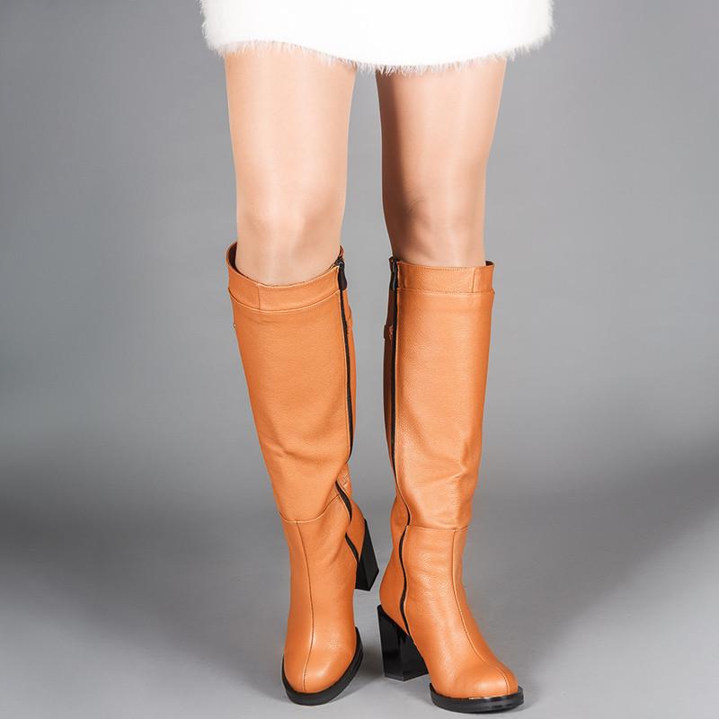 Женские рыжие высокие сапоги кожаные на каблуке. Индивидуальный пошив. Цвет на выбор