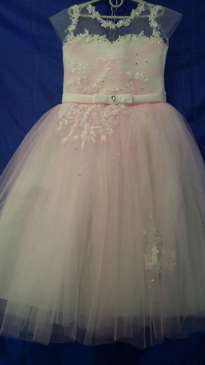 Платье нарядное для девочки р.6-7 лет опт евро сетка розовая