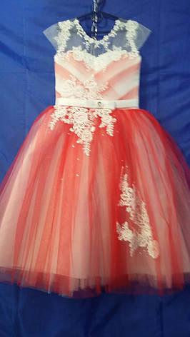 Платье нарядное для девочки р.6-7 лет опт евро сетка красная, фото 2