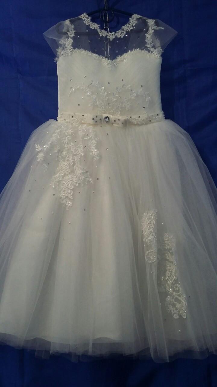 Платье нарядное для девочки р.6-7 лет опт евро сетка белая