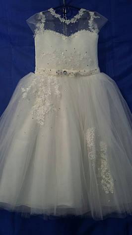 Платье нарядное для девочки р.6-7 лет опт евро сетка белая, фото 2