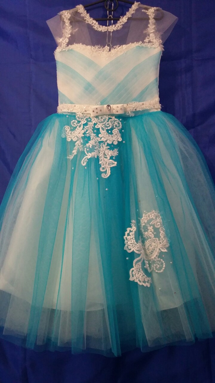 Платье нарядное для девочки р.6-7 лет опт евро сетка голубая