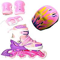 Роликовые коньки Ролики детские Jaguar Combo Ecoline ( + защита + шлем ) 39-42, Розовый (2T3007E)