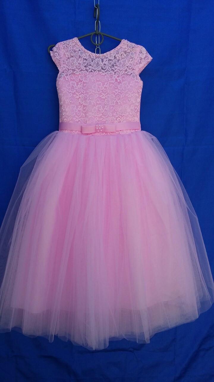 Платье нарядное для девочки р.6-7 лет опт розовое