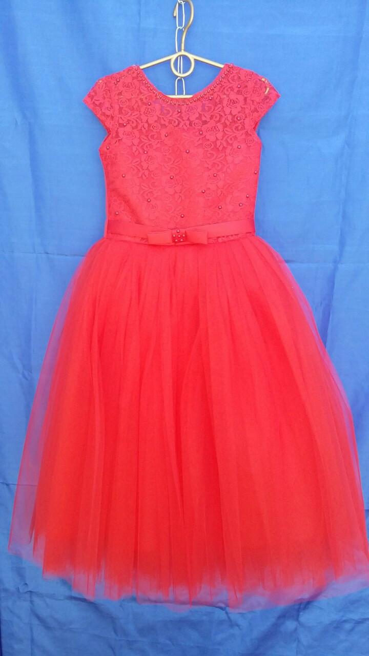 Платье нарядное для девочки р.6-7 лет опт красное