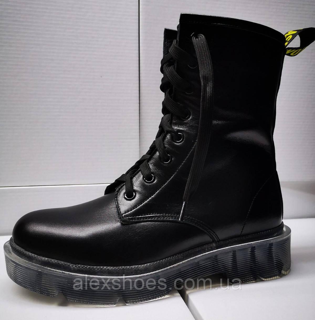 Ботинки молодежные на низком каблуке из натуральной кожи от производителя модель ЛЕ-ДМР01