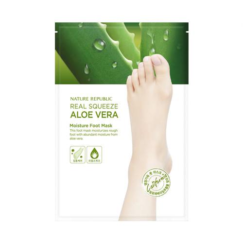 Nature Republic Real Squeeze Aloe Vera Moisture Foot Mask Увлажняющая и питающая маска для ног с алоэ