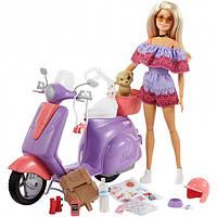 Кукла Барби Путешествие на скутере Barbie Pink Passport Travel Doll with Purple Scooter Mattel (FNY34)
