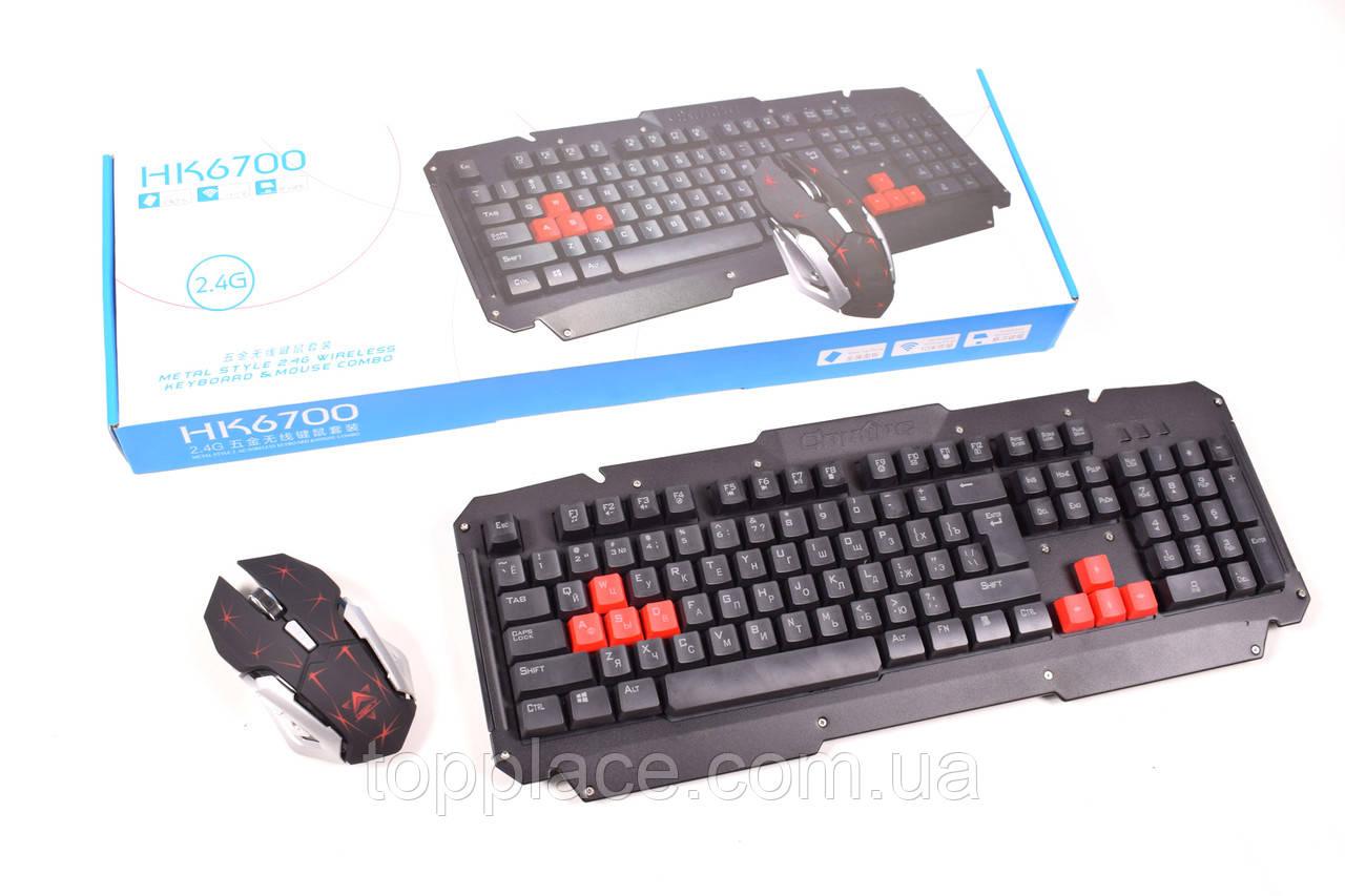 Комплект ігрової бездротової клавіатури з мишею HK 6700
