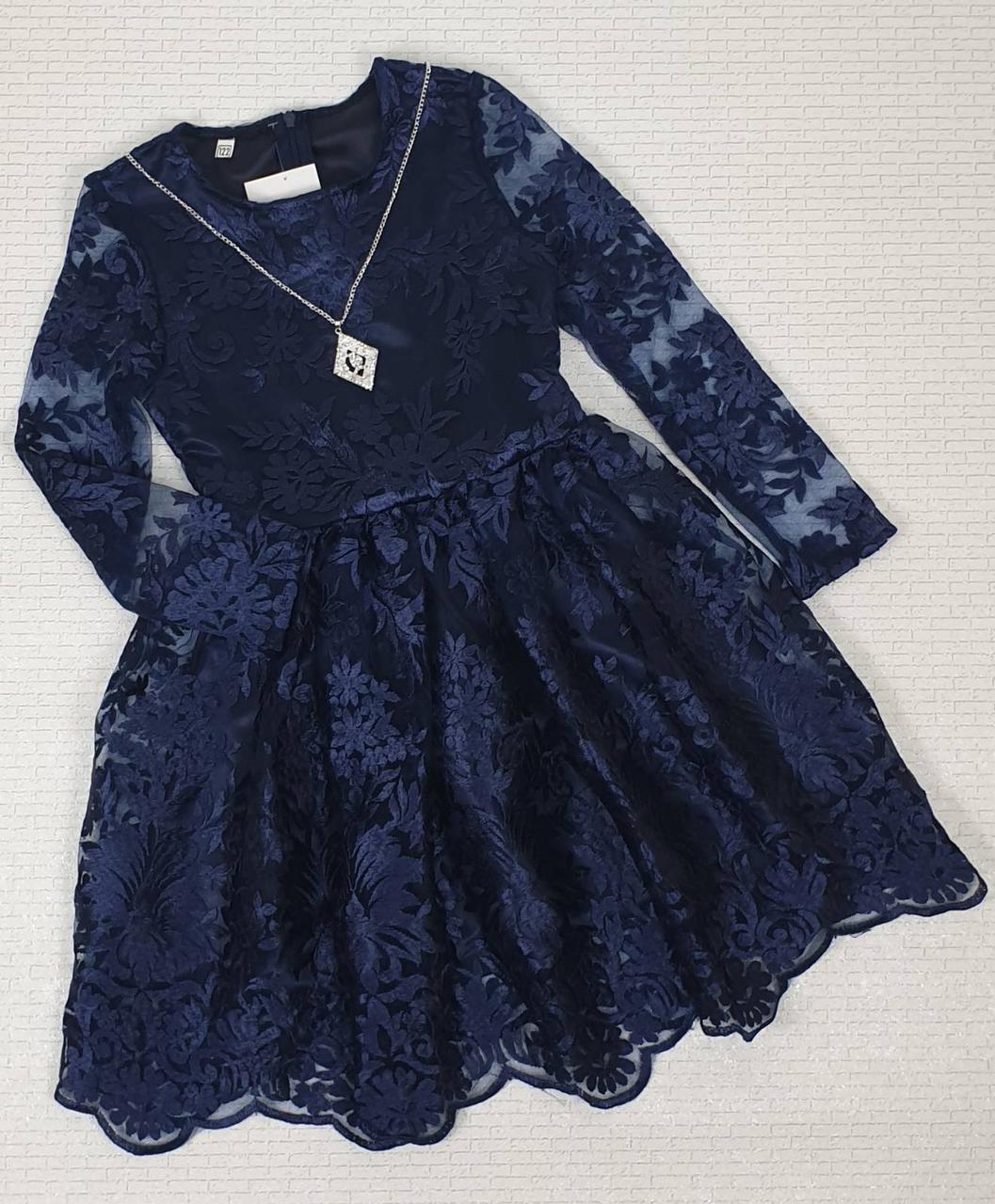 Детское нарядное платье  р.122-134 лет опт т.синие