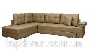 """Кутовий диван """"Прінстон"""". Амелі Беж. Габарити: 2,95 х 2,10 Спальне місце: 2,00 х 1,60"""