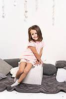 Домашний летний костюм для девочки пудрового цвета шорты с футболкой