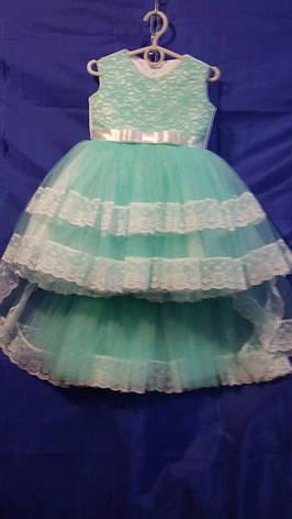 Дитяче плаття зі шлейфом для дівчинки р. 3-4 років опт м'ята, фото 2