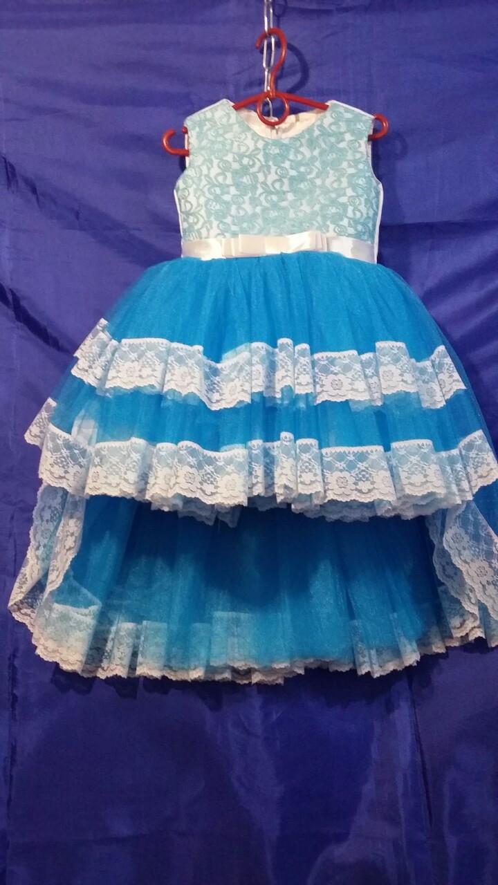 Детское платье со шлейфом для девочки р. 3-4 лет опт синие