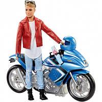 Кукла Кен Путешествие на мотоцикле Barbie Pink Passport Ken Doll with Motorcycle Mattel (FNY31)