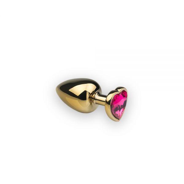Анальная пробка,Gold Heart Pink-Rhodolite, S