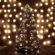 Декор Елка ЛОФТ Новогодняя Рождественская Ель с LED Гирляндой На Батарейках+USB+220V 32х16см GoldWarmLOFT