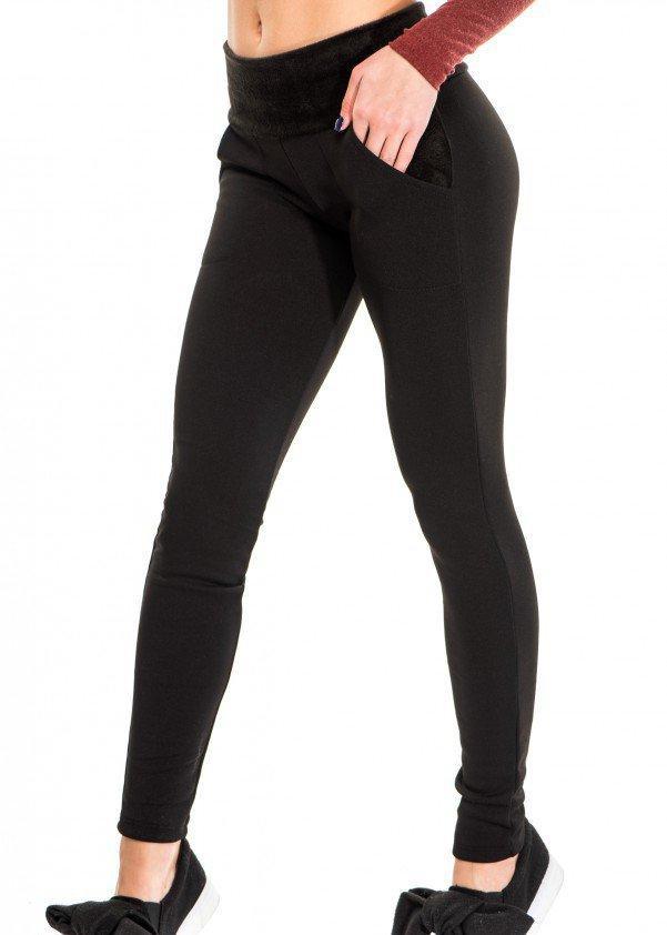 Чорні штани утеплені Issa Plus з трикотажу на хутрі з хутряним поясом