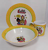"""Набір дитячого посуду """"Лол"""" порцеляновий 3-х предметний., фото 1"""