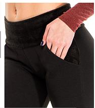 Чорні штани утеплені Issa Plus з трикотажу на хутрі з хутряним поясом, фото 3