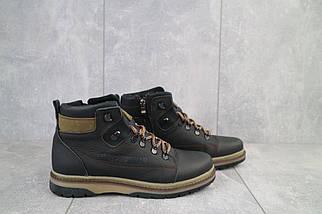 Подростковые ботинки кожаные зимние черные-оливковые CrosSAV 322, фото 3