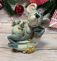 Копилка, статуэтка Мышка с деньгами. Символ 2020 года