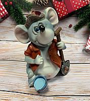 Копилка, статуэтка Мышка Садовник. Символ 2020 года