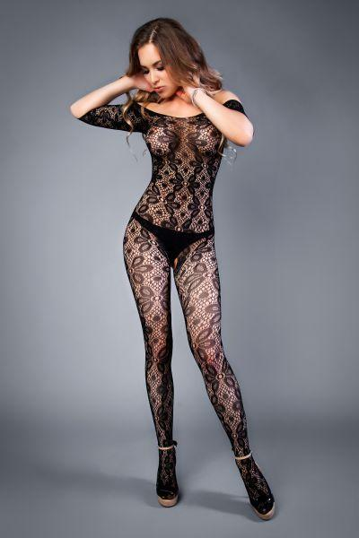 Сетка Bodystocking in crochet look with floral pattern black, S-L (40-46)