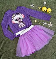 Комплект батник + юбка с аппликацией р. 110 - 134, сиреневый