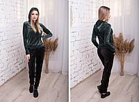 Стильний жіночий прогулянковий велюровий костюм з чорними штанами і кофтою з капюшоном. Арт-2476/15, фото 1