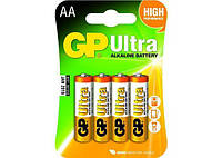 Батарейка GP ULTRA ALKALINE 1.5V 15AUHM-2UE4 LR6, AA (4шт бл.) (HT0127)