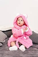 Нежный махровый халат для девочки с капюшоном и ушками розового цвета из материала велсофт