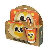 Набор детской бамбуковой посуды, енот (HT0187)