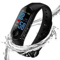 Фитнес браслет Xiaomi Mi Band M3 Black, браслет М3 реплика. цветной экран!шагомер,пульс, давление,качество сна