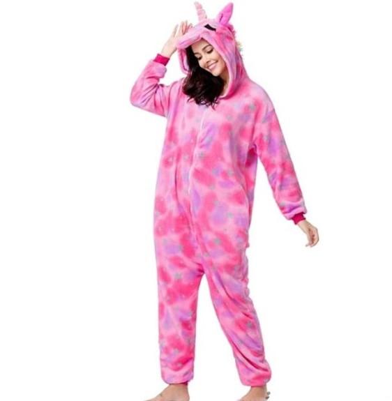Піжама кигуруми єдиноріг, рожевий зоряний