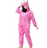 Пижама кигуруми единорог, розовый звездный