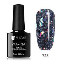 Гель-лак для ногтей маникюра 7.5мл UR Sugar, 723 черный с блестками