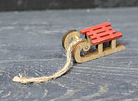 Новогодняя игрушка на елку - сани мини