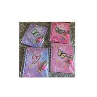 """Блокнот для записи с замком """"Бабочки"""" А6, разные цвета, 60 листов, боковая спираль, Ежедневник, Записные книжки"""