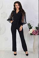 Черный женский стильный красивый молодежный комбинезон с брюками и пышными прозрачными рукавами. Арт-2333/2