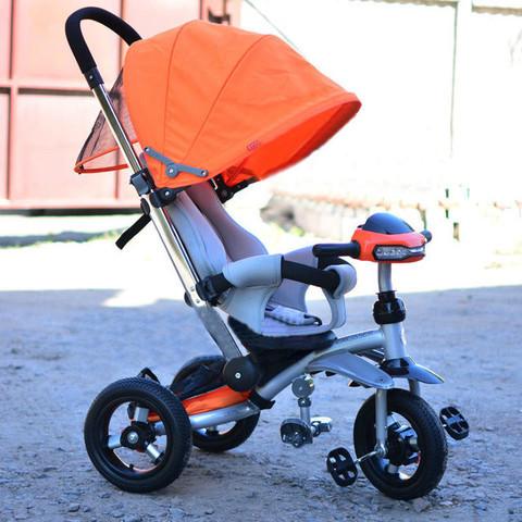 Детский трехколесный велосипед Т-350 Кроссер надувные колеса лазурный