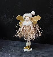 Текстильна іграшка-подарунок Янголятко в сукні маленький, фото 1