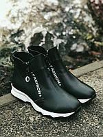 Ботинки Полусапоги зимние из натуральной кожи с мехом.