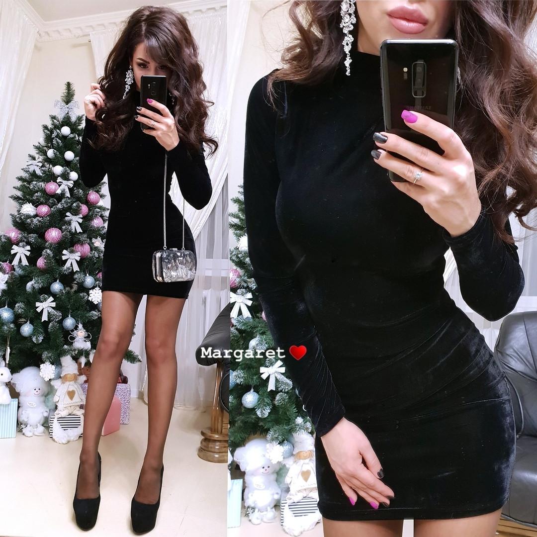 Вечернее бархатное платье черного цвета