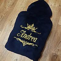 Махровый халат с вышивкой на спине
