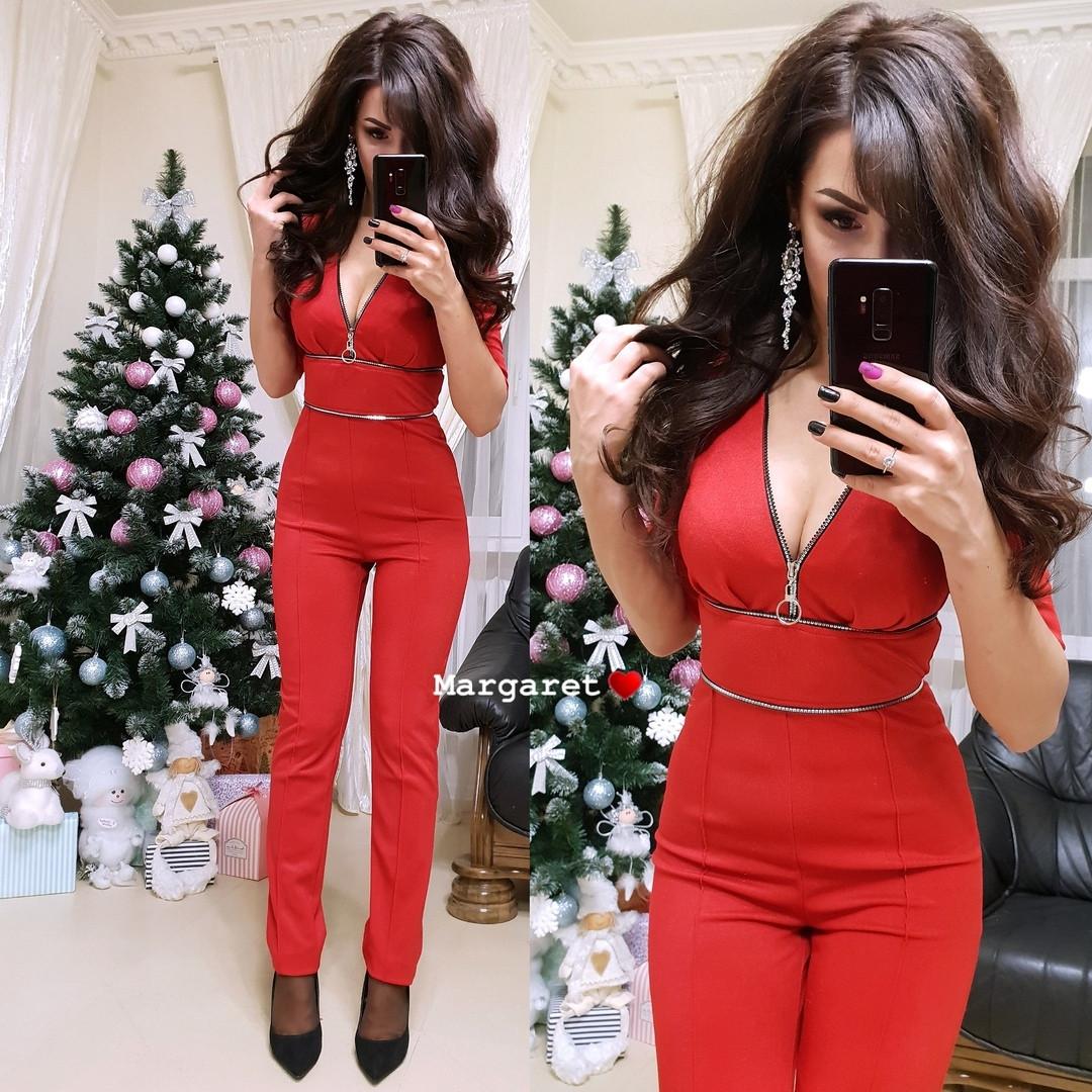 Стильный женский комбинезон с брюками,красного цвета