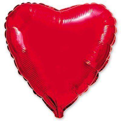 Фольговані кулі без малюнка серце 18/45 металлік  червоне (fm)