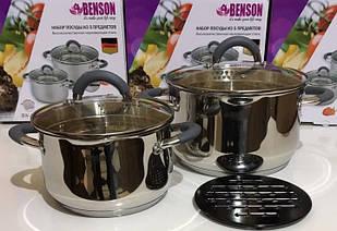 Набор кастрюль Benson (5 предметов) Нерж. Сталь-3,0л 5,1л+ подставка